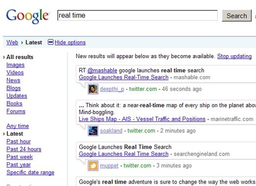 Google, recherche en temps rel, Real Search Time