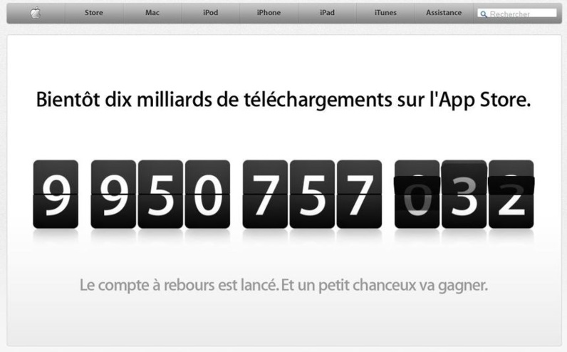 10 milliards d'applications sur Apple store
