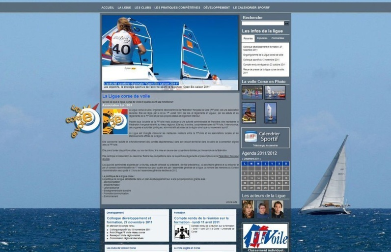 Le site de la Ligue Corse de Voile