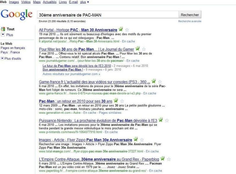 Les 30 ans de Pac Man selon Google