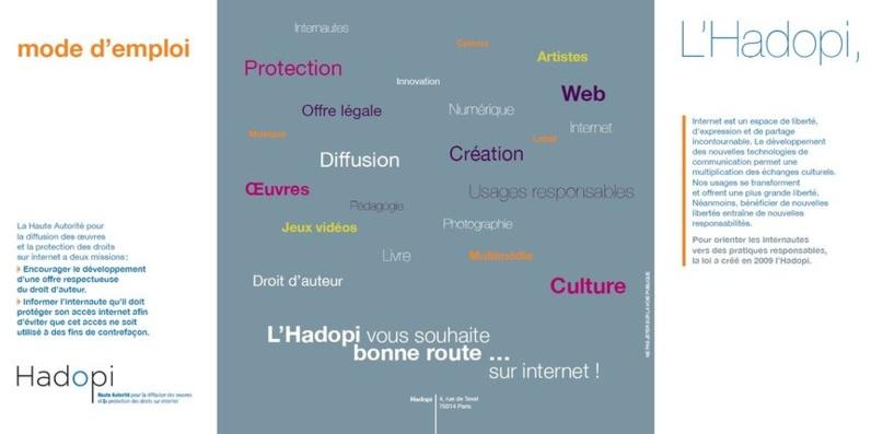 Publicité Hadopi distribuée aux péages.