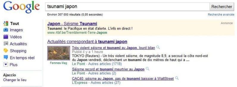 Google, le web et le Japon #tsunami #tremblement de terre.