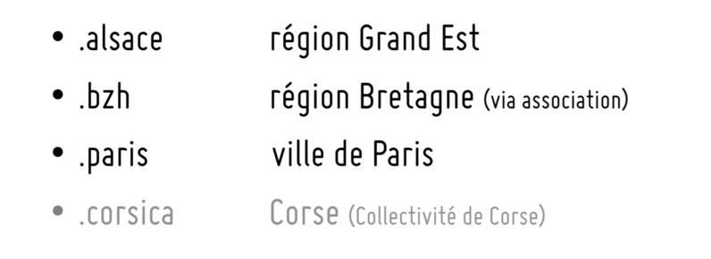Les 4 extensions de nom de domaines  régionales