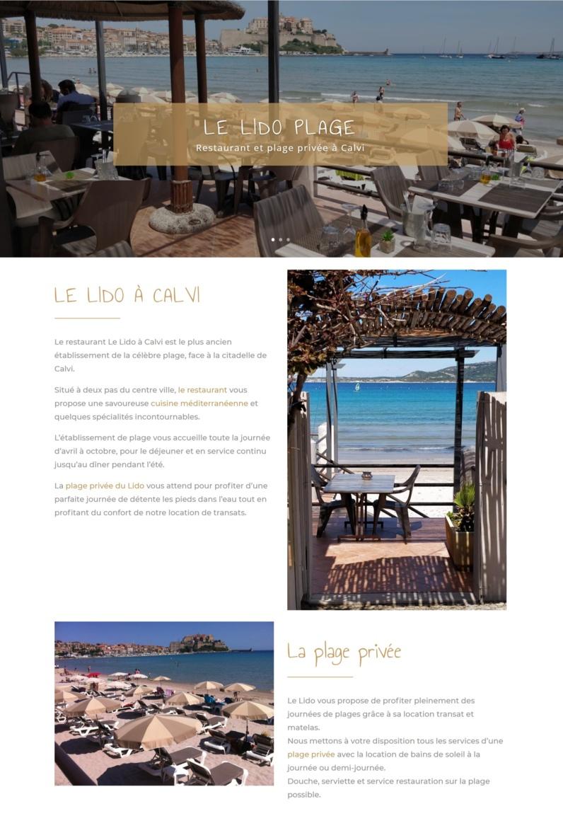 Nouvelle réalisation web : restaurant Le Lido à Calvi