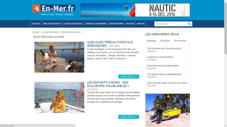 Les rubriques du site en-mer.fr
