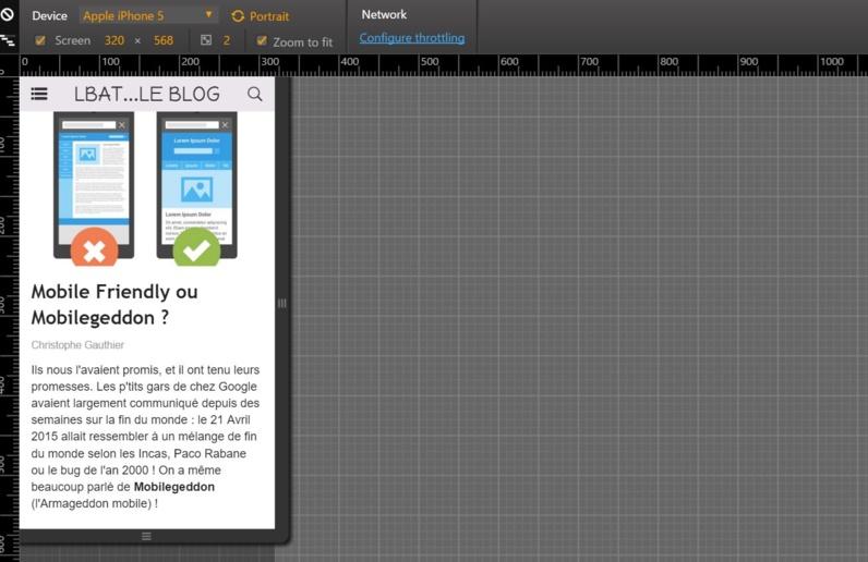 Test de l'affichage d'un site responsive