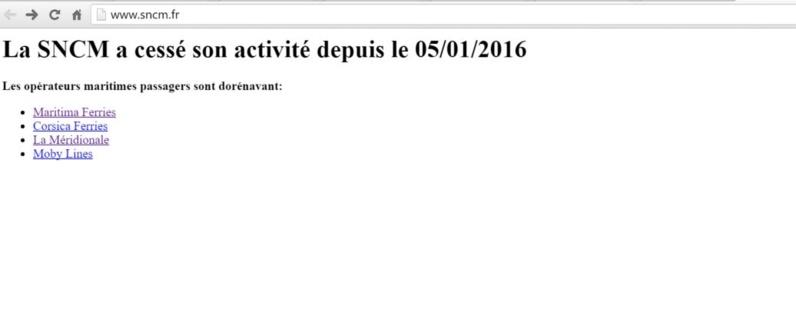 Site de la SNCM au 4/02/16