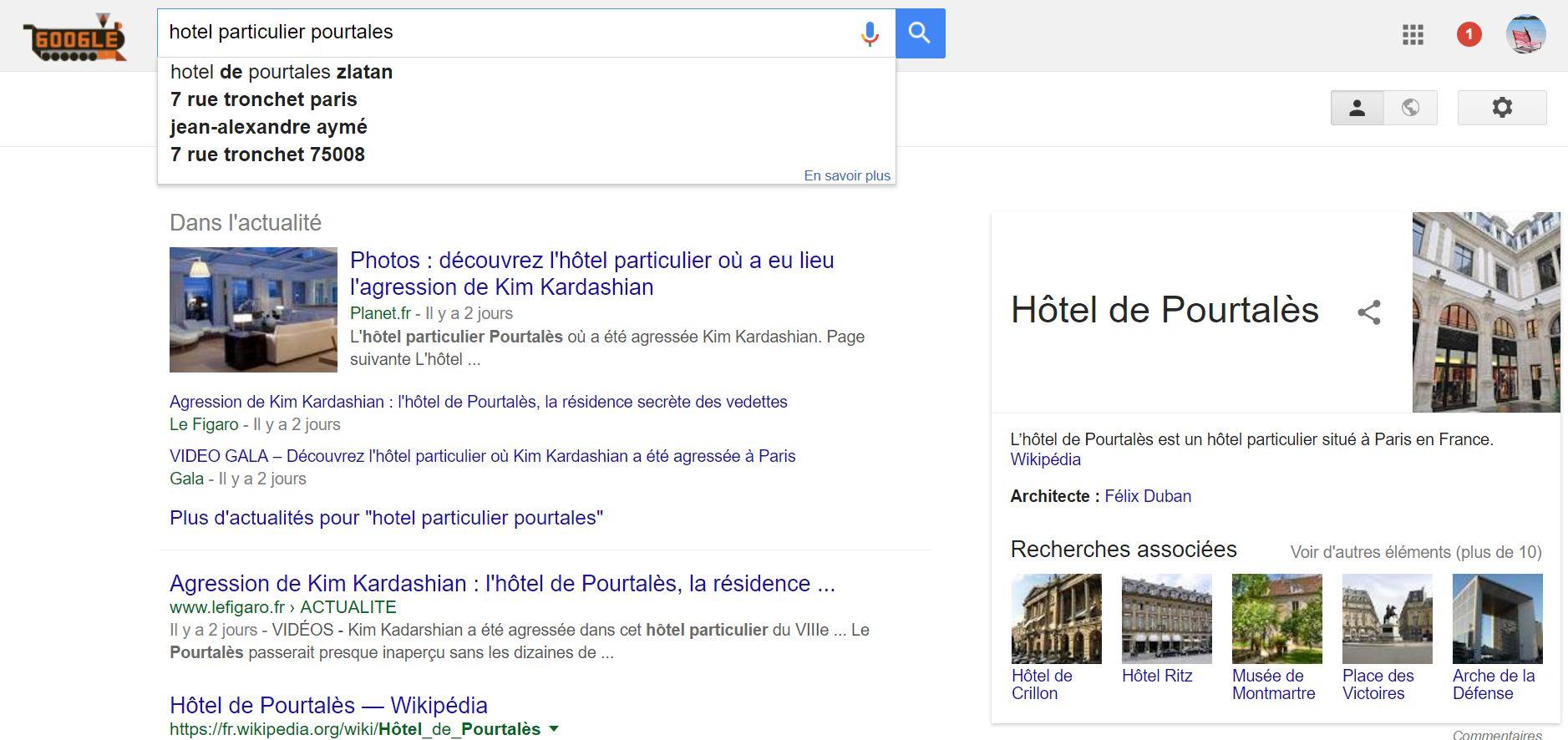 Hôtel Pourtales et Google