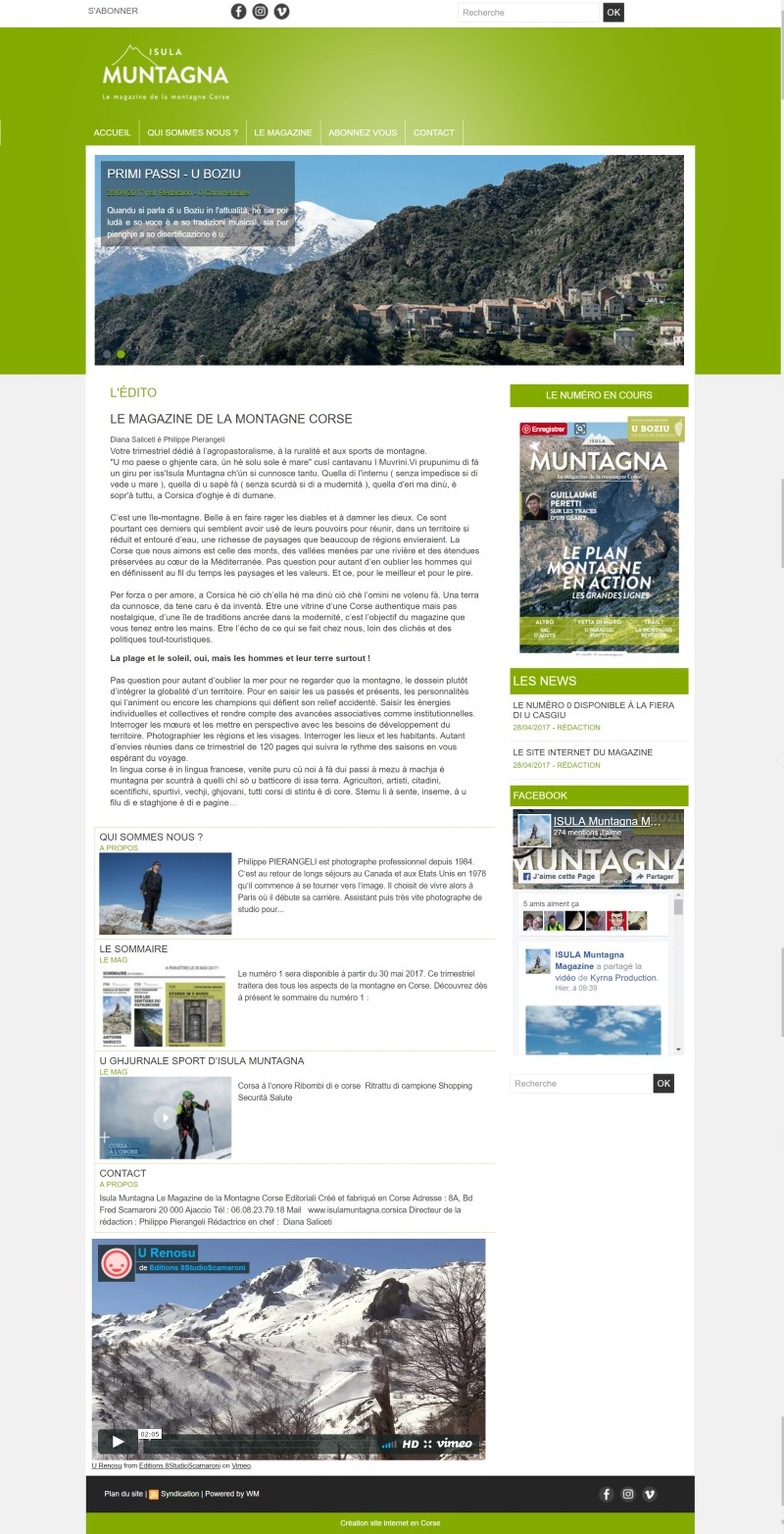 Nouveau site internet : Isula Muntagna