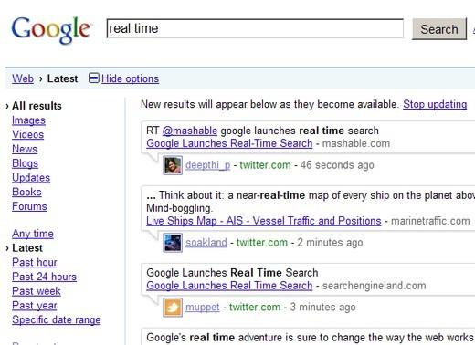 Google, recherche en temps réel, Real Search Time