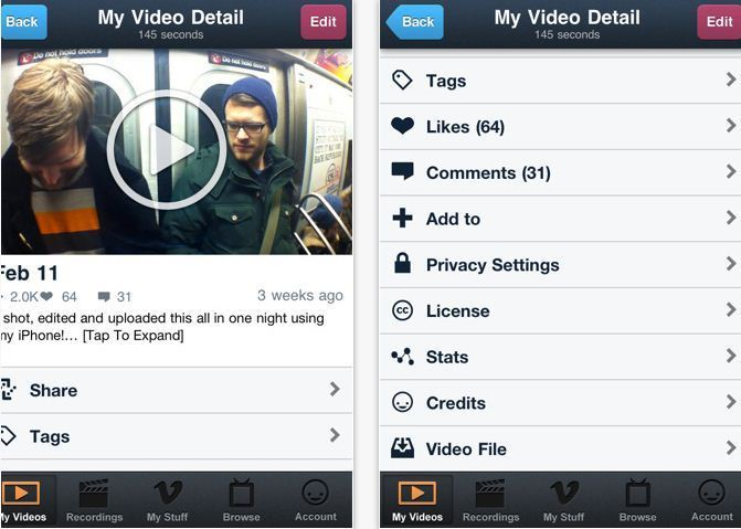 Vimeo sur Appstore