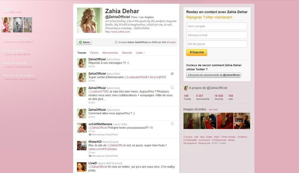 Twitter officiel Zahia