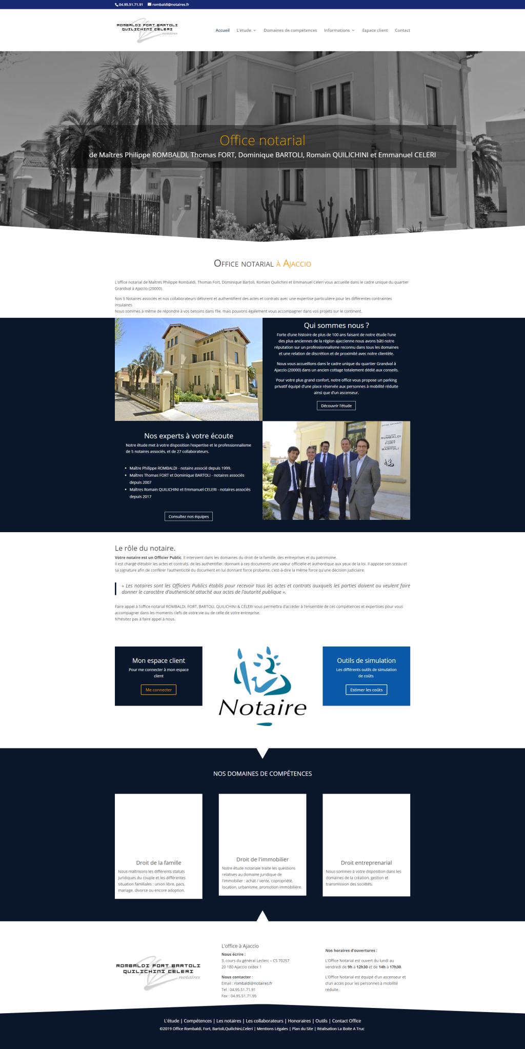 Le site de l'Office Notarial Rombaldi à Ajaccio