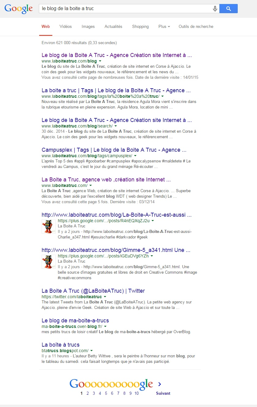 Résultat Google - Blog de LBAT